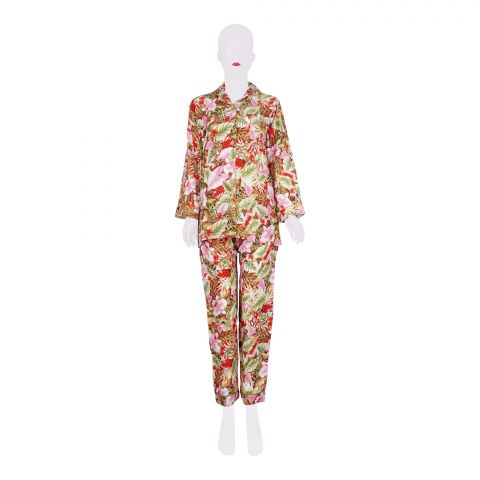 Basix Women's Linen Pajama Suit, Pink Base and Flowers