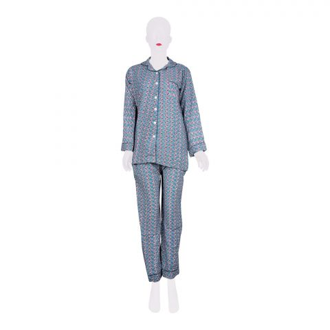 Basix Women's Linen Pajama Suit, Turquoise and Leaves