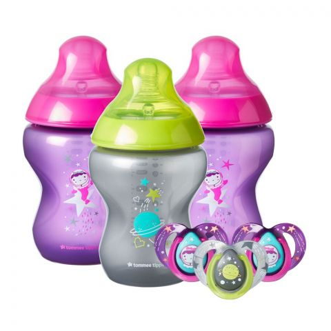 Tommee Tippee Closer To Nature To Boldly Go Feeding Bottle Set, 260ml 3-Pack +Soother 3-Pack, 422811/38