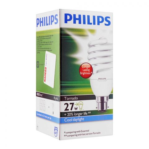 Philips Tornado Energy Saver Bulb, 27W, B22, Cool Daylight
