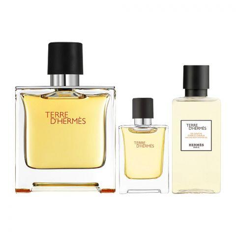 Hermes Terre D' Hermes Perfume Set, EDP 75ml + EDP 5ml + Shower Gel 40ml