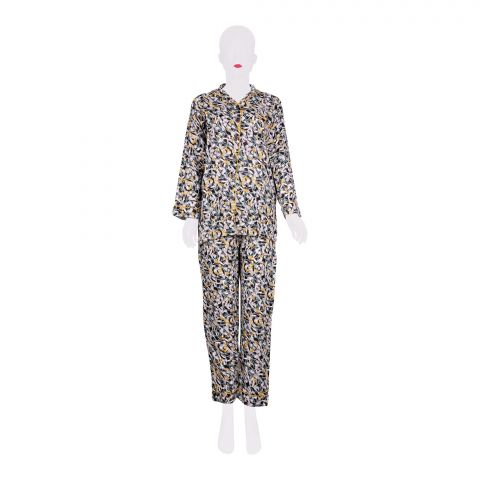 Basix Women's Linen Pajama Suit, Black White and Yellow Leaves, 504