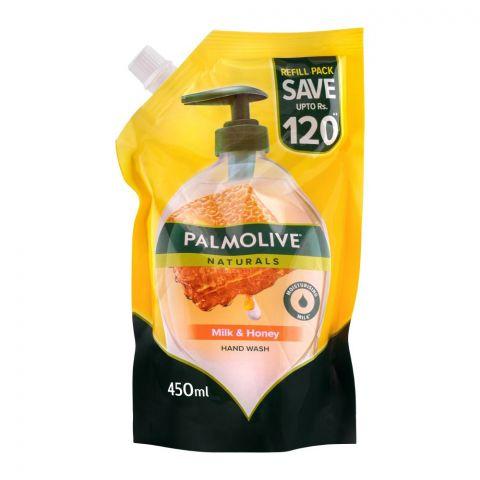 Palmolive Naturals Milk & Honey Liquid Hand Wash, Refill, 450ml
