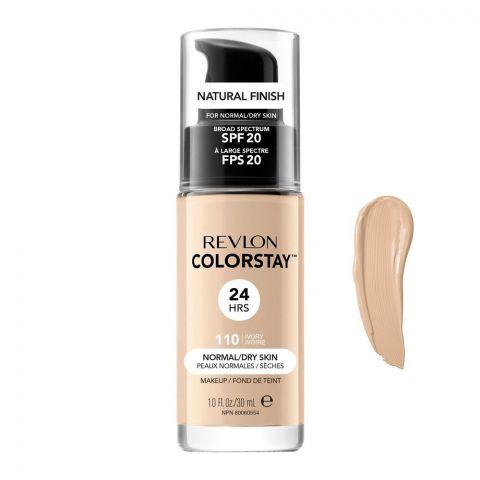 Revlon Colorstay 24H Natural Finish Foundation, Normal/Dry Skin, SPF 20, 110 Ivory