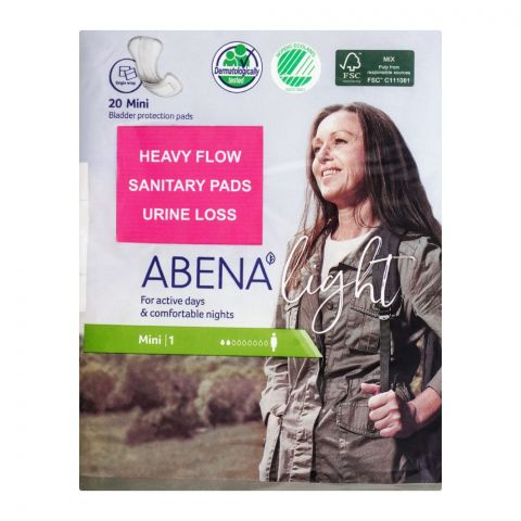Abena Light Bladder Protection Pads, Mini 1, 20-Pack