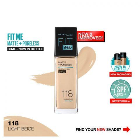 Maybelline Fit Me Matte + Poreless Foundation, 118 Light Beige, 30ml