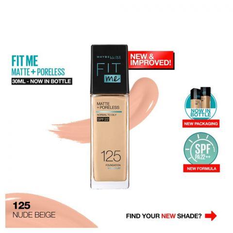 Maybelline New York New Fit Me Matte + Poreless Foundation, 125 Nude Beige, 30ml