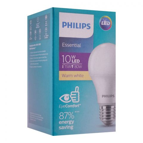 Philips Essential LED Bulb, 10W, E27, Warm White