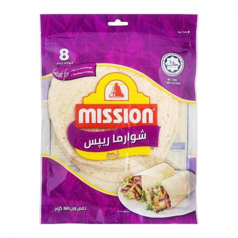 Mission Shawarma Garlic Wraps, 8 Pieces, 360g