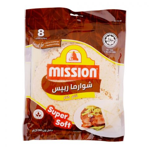 Mission Shawarma Pure Wheat Wraps, 8 Pieces, 360g
