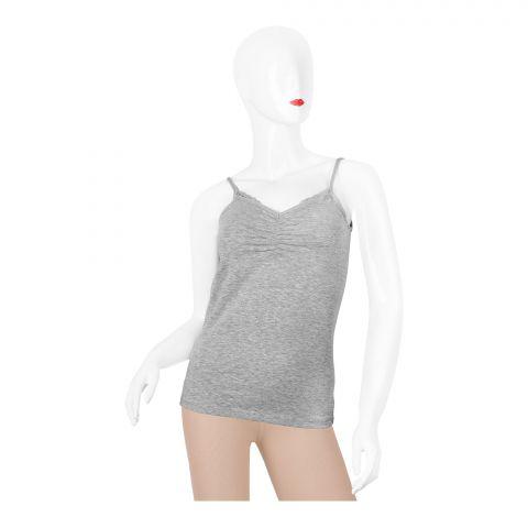 Bross Lace Trim Women's Vest, Grey, 1275