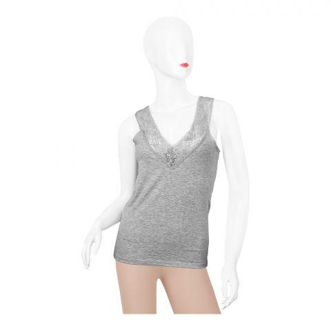 Bross Lace Trim V-Neck Women's Vest, Grey 1273