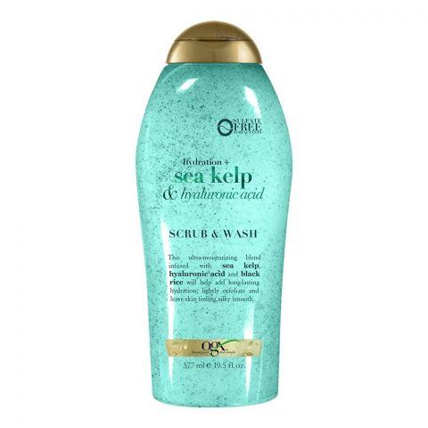 OGX Hydration + Sea Kelp & Hyaluronic Acid Scrub & Body Wash, Sulfate Free, 577ml