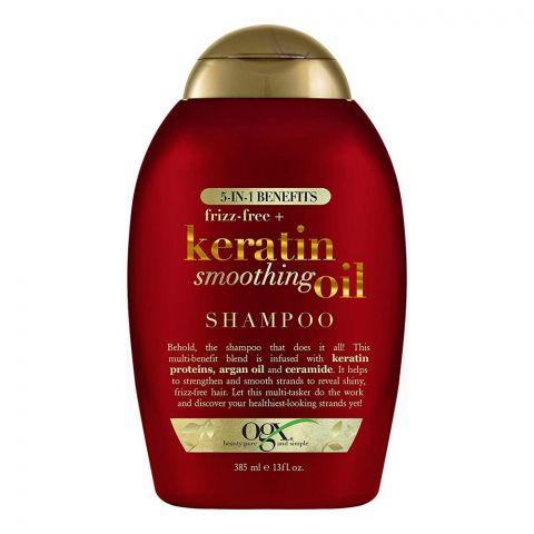 OGX Frizz Free + Keratin Smoothing Oil Shampoo, Sulfate Free, 385ml