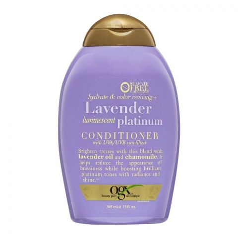 OGX Hydrate & Color Reviving + Lavender Luminescent Platinum Conditioner, Sulfate Free, 385ml