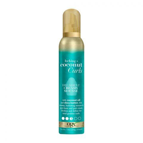 OGX Locking + Coconut Curls Decadent Creamy Hair Mousse, No. 3, 235ml