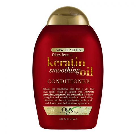 OGX Frizz Free + Keratin Smoothing Oil Conditioner, Sulfate Free, 385ml
