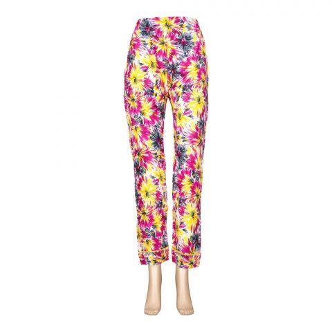Basix Women's Linen Pajama, Yellow Bright Pink, 102-B