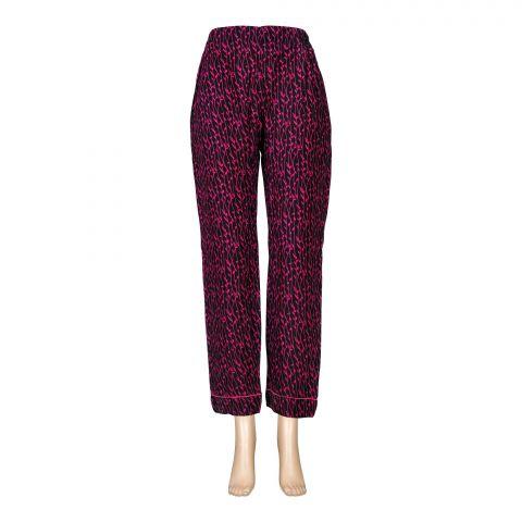 Basix Women's Linen Pajama, Pin Leaf Black and Dark Pink, 105-E