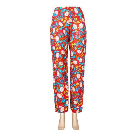 Basix Women's Linen Pajama, Red Vibrancy Flora, 110