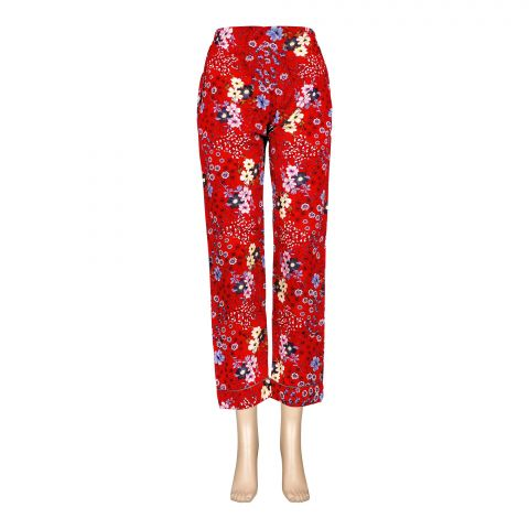 Basix Women's Linen Pajama, Cherry Red Flora and Leaves, 114