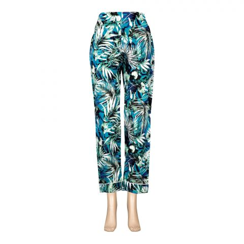 Basix Women's Linen Pajama, Jade Refreshing Green Flora, 117