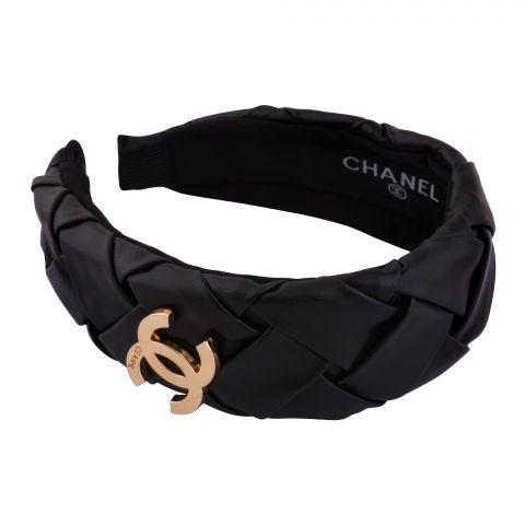 Chanel Style Hair Band, Black, AB-06