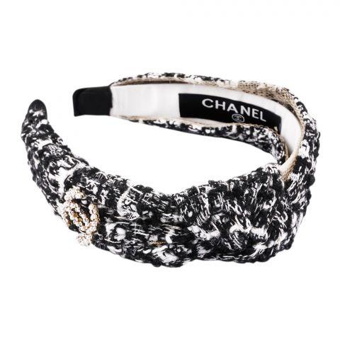 Chanel Style Hair Band, Black White, AB-12
