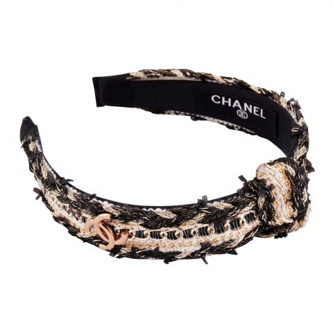 Chanel Style Hair Band, Black Gold, AB-13