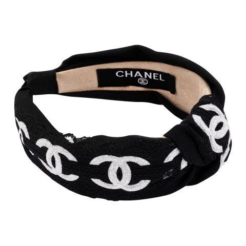 Chanel Style Hair Band, Black Glitter, AB-20