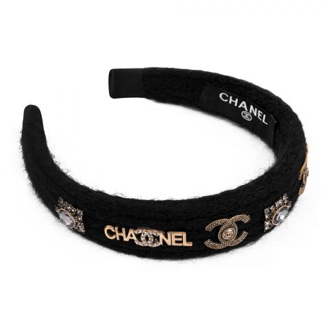 Chanel Style Hair Band, Black Stone, AB-21