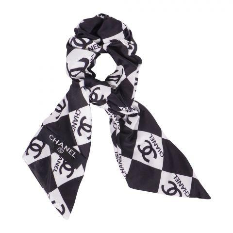 Chanel Style Pony Band, Black White, AB-29