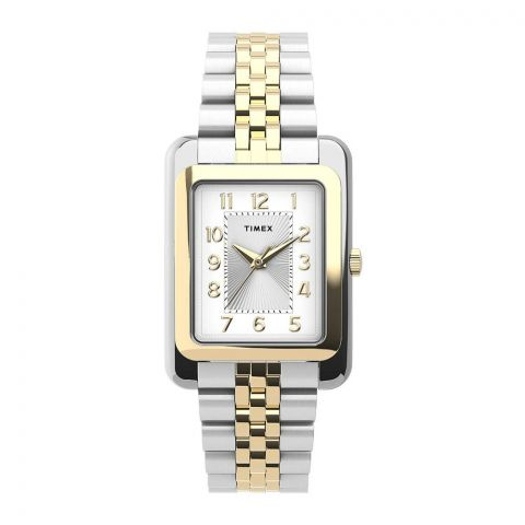 Timex Women's Addison 25mm Stainless Steel Bracelet Watch, Silver-Golden, TW2U14200
