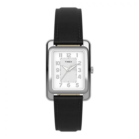 Timex Women's Addison 25mm Black Leather Strap Watch, White Dial, TW2U14500