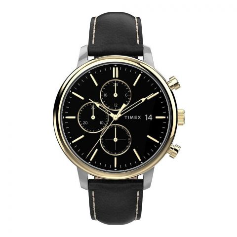 Timex Men's Chronograph City Collection Black Dial Leather Strap Watch, TW2U39100