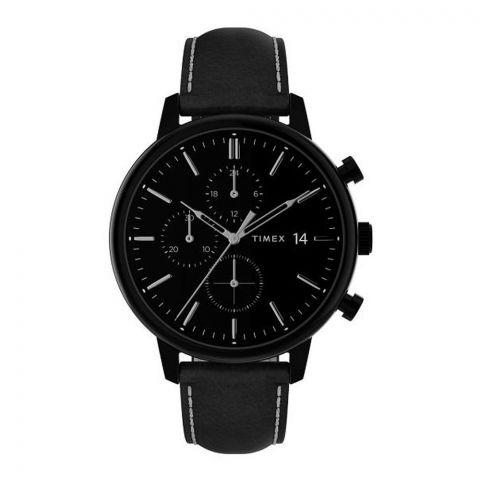 Timex Men's Chronograph Chicago Black Dial Leather Strap Watch, TW2U39200