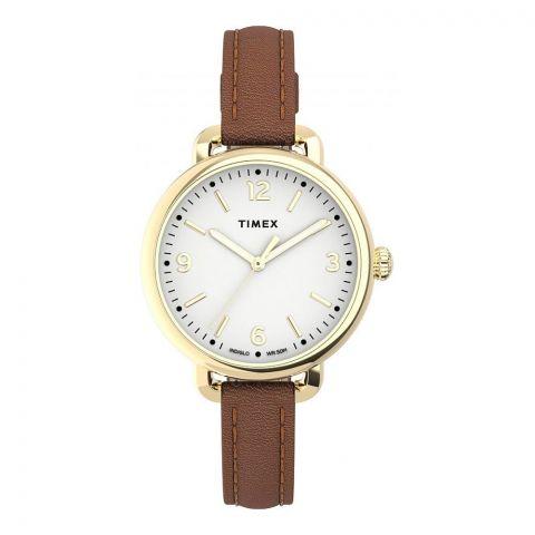 Timex Women's Standard Demi 30mm Leather Strap Watch, Golden Tone, TW2U60000