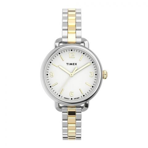 Timex Women's Standard Demi 32mm Stainless Steel Bracelet Watch, Silver-Golden, TW2U60200