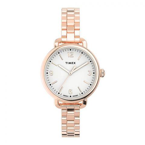 Timex Women's Standard Demi 32mm Stainless Steel Bracelet Watch, Golden, TW2U60700