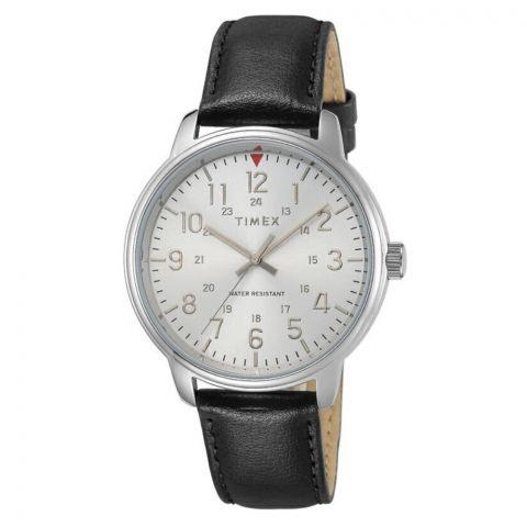 Timex Men's Classics 43mm Black Leather Strap Watch, TW2R85300