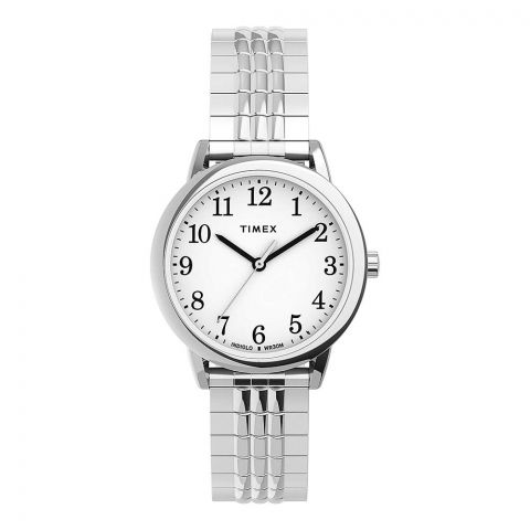 Timex Women's Easy Reader 30mm Perfect Fit Silver Tone Watch, TW2U08600