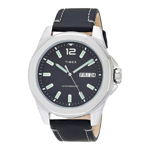 Timex Men's Dress Watch, Black Leather Strap, Black Dial, TW2U14900