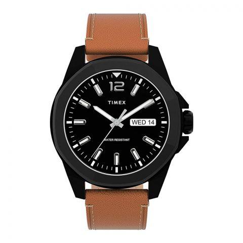 Timex Men's Dress Watch, Brown Leather Strap, Black Dial,