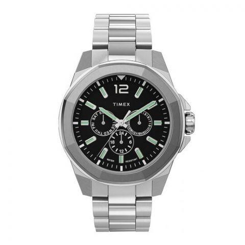 Timex Men's Essex Avenue Stainless Steel Black Dial Watch, TW2U42600