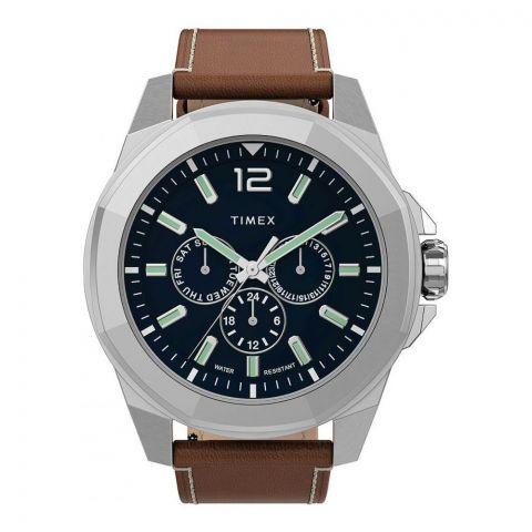Timex Men's Essex Avenue Stainless Brown Leather Strap Watch, TW2U42800