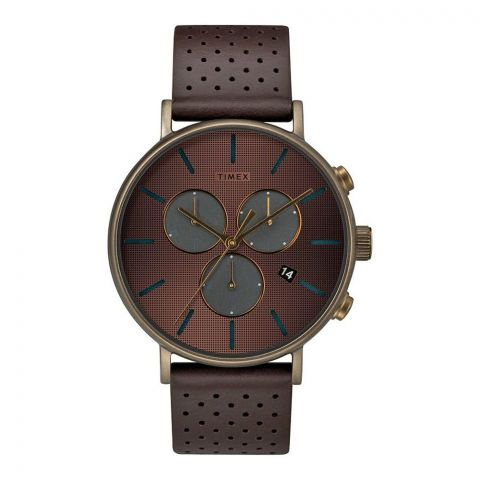 Timex Men's Fairfield Supernova Gold Dial Leather Strap Watch, TW2R80100