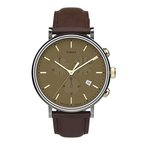 Timex Men's Fairfield Chronograph 41mm Brown Leather Strap Watch, TW2T67700