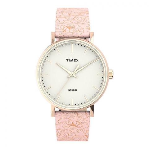 Timex Women's Fairfield Floral 37mm Leather Strap Watch, TW2U40500