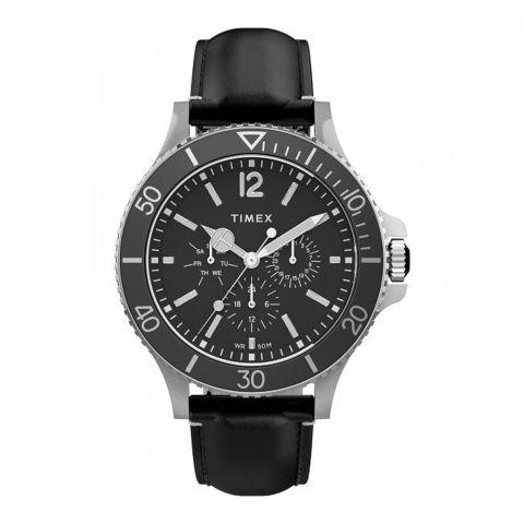 Timex Men's Harborside Multifunction 43mm Black Leather Strap Watch, Black Dial, TW2U12900