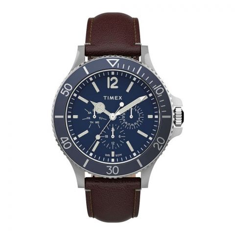 Timex Men's Harborside Multifunction 43mm Brown Leather Strap Watch, Blue Dial, TW2U13000